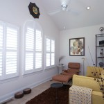 Interior custom shutters three windows from A Shade Above Millville DE