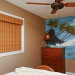 Bamboo custom shutters in a bedroom from A Shade Above Millville DE